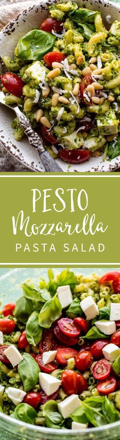Kale pesto mozzarella pasta salad is an easy summer pasta salad! It's absolutely delicious, feeds a crowd, and you can make it ahead. Recipe on sallysbakingaddiction.com
