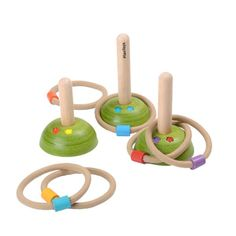 The wooden Meadow Ring Toss game will provide hours of fun for your child.  They can practice their aim while throwing the 6 rope rings with coloured beads onto the wooden posts which are all different heights.  It is easy to assemble.  For beginner players, just place the posts closer together and for more advanced players, spread them out!  Great for co-ordination and concentration.