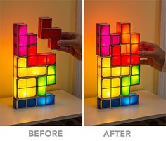 a little tacky but could be neat for the nerd room ThinkGeek :: Tetris Stackable LED Desk Lamp
