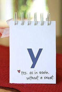sweet DIY alphabet book for future husband