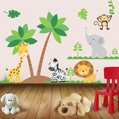 Jungle Animals Self Adhesive Decorative Vinyl Kit ! - Jungle Animals Self Adhesive Decorative Vinyl Kit ! Baby Bedroom, Baby Room Decor, Nursery Room, Kids Bedroom, Deco Jungle, Kids Room Murals, Wall Drawing, Class Decoration, Kids Corner