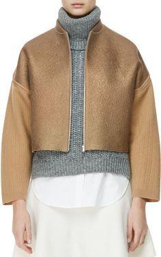 Genuine PHILLIP LIM Felted Gold Foil Wool Jacket- M