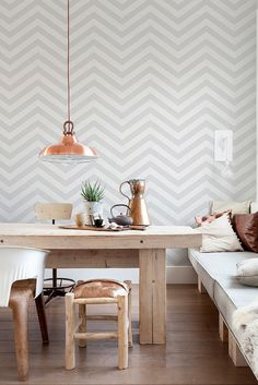 Grey and white chevron wallpaper - great in any stylish room in the house.