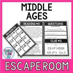Perfect for third grade and fourth grade classrooms, this escape room activity covers the following topics: Middle Ages, Medieval Times or the Dark Ages, the Hundred Years War, society/classes, jousting and the Black Death. Engage your students with interactive activities during social studies with this escape room! Your students will also work on their reading comprehension and critical thinking skills! Introduction Activities, History Activities, Science Activities, Interactive Activities, Holiday Activities, Classroom Activities, Geography Activities, Reading Levels, Reading Skills