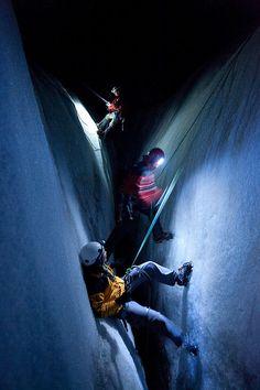 Climb down a crevasse in Switzerland -The Gorner Glacier. NO