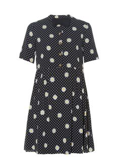 Bow tie-embellished daisy-print dress | Saint Laurent | MATCHESFASHION.COM US