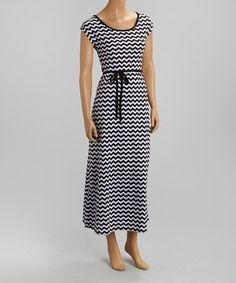 Look what I found on #zulily! Black & White Zigzag  Scoop Neck Dress by Cherry Stix #zulilyfinds