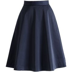 Chicwish Basic Dark Blue A-line Skirt (43 CAD) ❤ liked on Polyvore