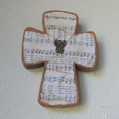 This would be a great Christmas gift. A cross with words to a Christmas hymn. Beautiful.