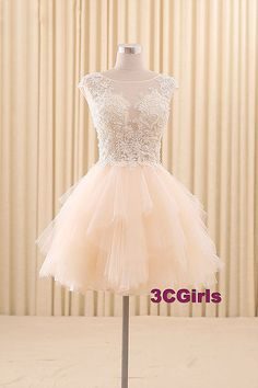 Short prom dress, modest prom dress, cute pink lace organza prom dress for teens