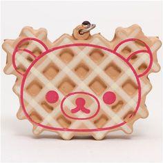 kawaii Rilakkuma bear waffle face squishy cellphone charm 1