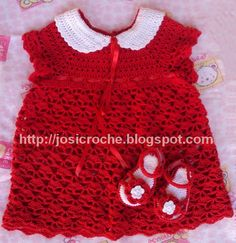 Josi Croche: Baby Dress - link above top picture to free crochet pattern and tutorial.