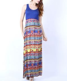 Another great find on #zulily! Collective Rack Royal Blue & Red Geo Maxi Dress by Collective Rack #zulilyfinds