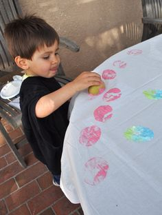 Potato painting...Fun prep for a party tablecloth (patterns also nicely resemble eggs)