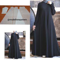 Image may contain: one or more people Long Dress Patterns, Dress Sewing Patterns, Blouse Patterns, Clothing Patterns, Abaya Fashion, Muslim Fashion, Fashion Dresses, Abaya Pattern, Tunic Pattern