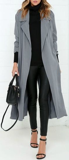 Cruise around town while the stars are out, bundled up in your new Night Drive Grey Trench Coat! Soft woven rayon trench coat has an attached sash and storm flap. Trench Gris, Grey Trench Coat, Trench Coat Outfit, Belted Coat, Coat Dress, Fashion Mode, Look Fashion, Fashion Outfits, Womens Fashion