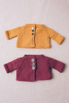 doll cardigan by susan b. anderson / from the book kindred knits: knitting for little ones near and far / in quince & co. lark, colors sorbet and apricot