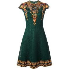 Pre-owned Valentino Marocain Embroidered Lace Dress (153,135 PHP) ❤ liked on Polyvore featuring dresses, vestidos, green, flared skirt, green skater skirt, fitted cocktail dresses, floral skater skirt and skater skirt