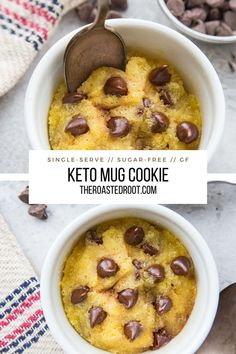 Keto Mug Cookie made with almond flour OR coconut flour (2 ways!) Sugar-free single-serve dessert recipe that takes 3 minutes to make and only 5 ingredients. Grain-free, low-carb, keto, healthy