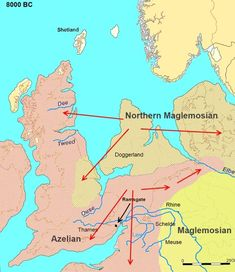40,000 - 100,000 yrs ago. Prehistoric sea level map, Europe ...