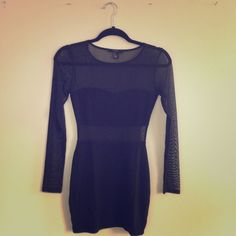 F21 Little Black Dress - Long Sleeved with Mesh Excellent used condition. No stains, rips, tears, etc. Mesh inserts on sides. Mesh long sleeved mini dress. Perfect little black dress.. Forever 21 Dresses Long Sleeve