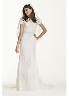 Short Sleeve Dotted Chiffon Sheath Gown WG3700