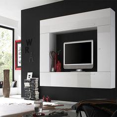Ensemble meuble TV blanc laqué design LIBELLO