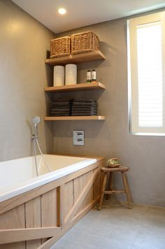 Badkamer met Beton-Cire van Cemcolori! #duurzaamdesign #waterdicht #cemcolori #betoncire