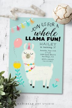 Shop Whole Llama Fun Birthday Party Invitation created by NamiBear. Personalize it with photos & text or purchase as is! Girls 9th Birthday, Llama Birthday, Girl Birthday Themes, Birthday Party For Teens, Birthday Invitations Kids, Birthday Fun, Birthday Party Decorations, Birthday Cards, Birthday Recipes