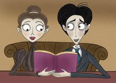 The Corpse Bride- Victor and Victoria reading their book together in their romantic moment Corpse Bride Victoria, Corpse Bride Art, Stop Motion Movies, Romantic Moments, Disney Stars, Gothic Art, Johnny Depp, New Movies, Mickey Mouse