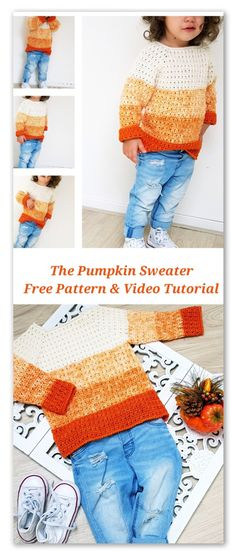 Crochet Diy The Pumpkin Sweater. Free pattern with stitch chart, diagram and video tutorial. For sizes from 6 months to years - ByKaterina The Pumpkin Sweater Crochet patterns Pumpkin Sweater crochet pattern with stitcb chart, diagram and video tutorial. Pull Crochet, Crochet Baby Clothes, Crochet For Boys, Boy Crochet, Crochet Toys, Crochet Children, Baby Patterns, Knitting Patterns Free, Baby Knitting