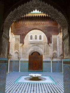 The Beautifully Ornate Interior of Madersa Bou Inania, Fes, Morocco Fotografie-Druck von Doug Pearson bei AllPosters.de