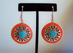 Vintage Large Sterling Silver Turquoise Coral Round Native American Earrings