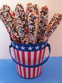 easy patriotic pretzel recipe...stick a flag or a red, white and blue pinwheel in the bucket of pretzels and it doubles as a centerpiece