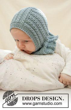 Baby Knitting Patterns, Baby Hats Knitting, Crochet Baby Hats, Knitting For Kids, Easy Knitting, Baby Patterns, Knitted Hats, Knitted Balaclava, Drops Design