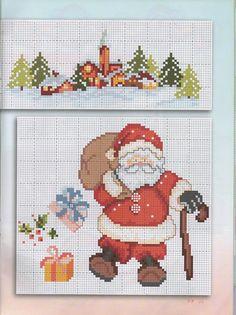 Santa and Parcels Xmas Cross Stitch, Cross Stitch Pillow, Cross Stitch Borders, Cross Stitch Kits, Cross Stitch Charts, Cross Stitching, Cross Stitch Embroidery, Cross Stitch Patterns, Cross Stitch Gallery