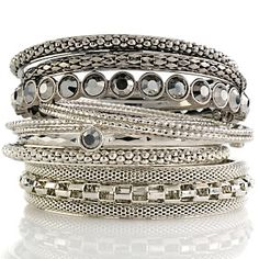 "R.J. Graziano ""Go Glam"" Set of 10 Crystal-Accented Bangle Bracelets at HSN.com. I love these!!!!!!!!!!!!!!!"