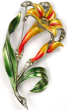 MB Boucher Metallic Enamel Lily Pin