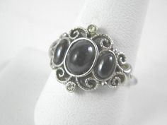 Avon Silver tone ring Size 9 1/2 with 3 by VintageJewelryPlus, $30.00