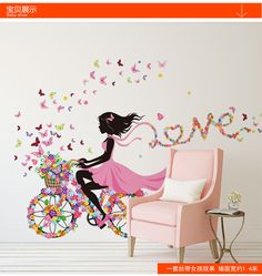 DIY Wall Stickers home decor Pink Princess Cycling Girl wall sticker girl Bedroom Living Room Decor Background decoracion hogar-in Wall Stickers from Home & Garden on Aliexpress.com | Alibaba Group