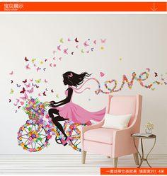 Aliexpress.com: Comprar Nuevas llegadas pared pegatinas PVC de gran tamaño dulce rosado de la princesa ciclismo niñas dormitorio salón fondo decorativo de Araña de dormitorio fiable proveedores en Beauty Beauty