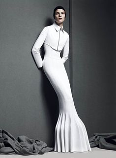 Minimalist white mermaid dress with structured silhouette; 3D fashion // Art of Perfection editorial for T Style