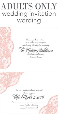 Adults Only Wedding Invitation Wording Paperinvite