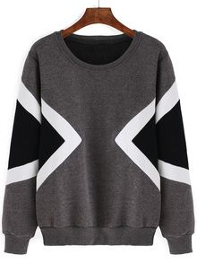 Geometric Print Thicken Grey Sweatshirt US$13.00