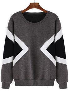 Sweat-shirt décontracté géométrie imprimée - gris
