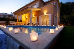 Candles for the pool at night -love-