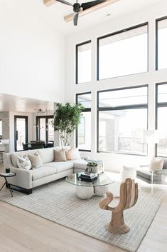 Large Furniture In Small Living Room Modern Neutral Living Room with Large Windows Design by Living Room Windows, New Living Room, My New Room, Living Room Interior, Small Living, Living Room White Walls, High Ceiling Living Room Modern, Neutral Living Rooms, Modern Living Room Decor
