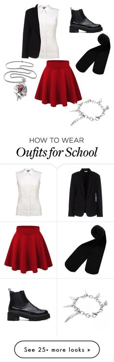"""School uniform"" by tiger123456789 on Polyvore featuring Monki, Miss Sixty and Maesta"