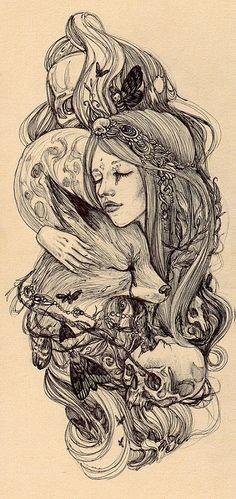 Moon+fox+girl | I'm selling prints here society6.com/hochuli… | Yulia Vysotskaya | Flickr