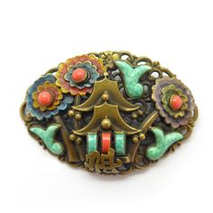 Vintage Czech Art Deco Neiger Peking Glass Pagoda Enamel Brooch | Clarice Jewellery